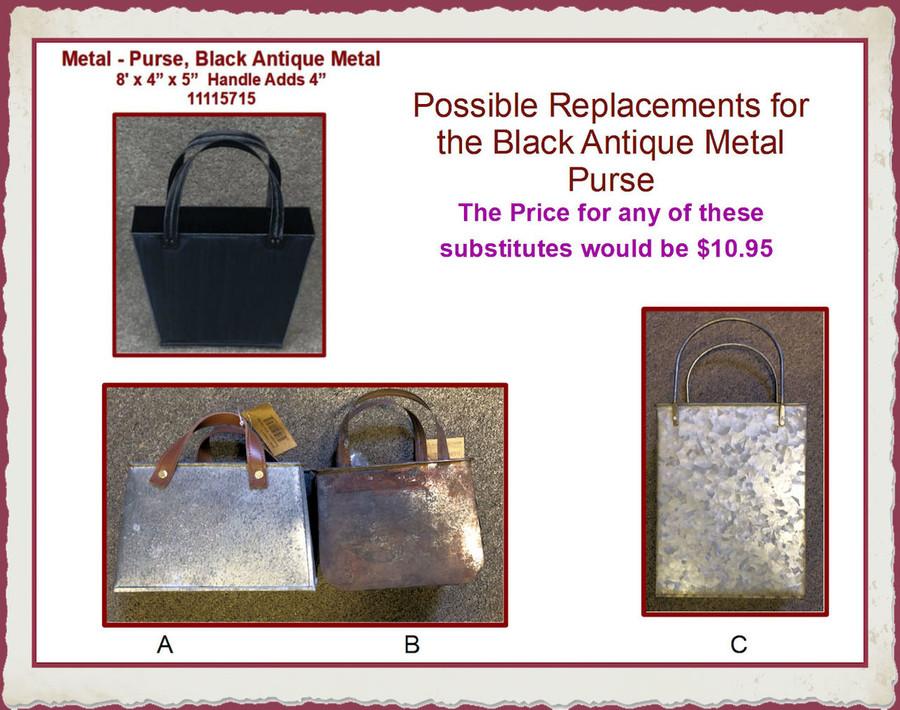 "Metal - Purse, Black Antique Metal 8"" L x 4""W x 5"" (11115715) List Price $14.50"