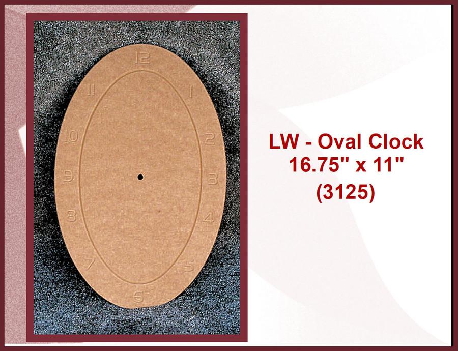 "LW - Clock - Oval Clock  16.75"" x 11""   (3125)"