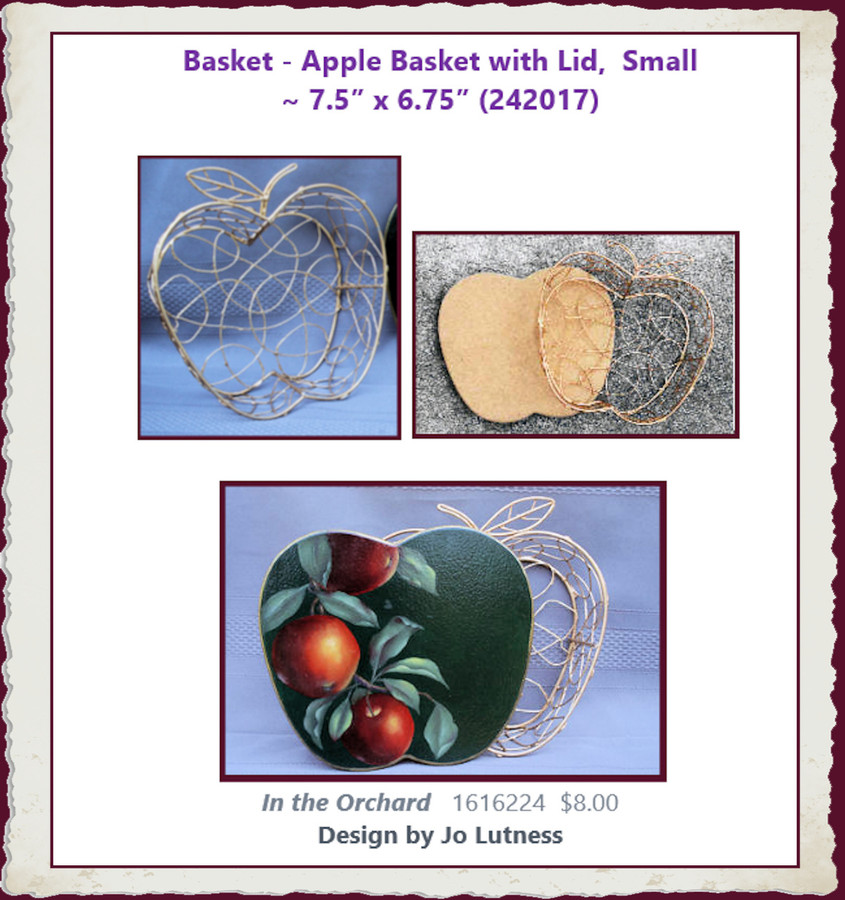 "Basket - Apple Basket, Small ~  7.5"" x 6.75"" (242017)"