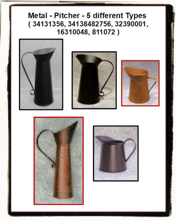 Metal - Pitcher - 5 different Types ( 34131356, 34138482756, 32390001, 16310048, 811072 )