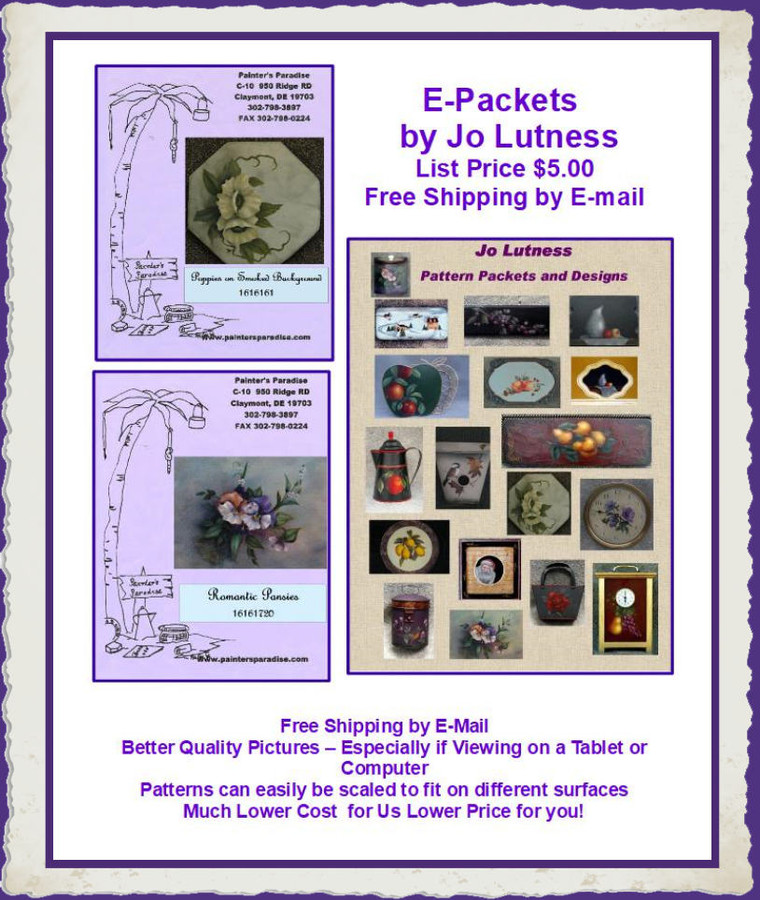 E - Pattern Packets - Jo Lutness E-Packets (1616XXX)List Price of the E-Packet is $5.00