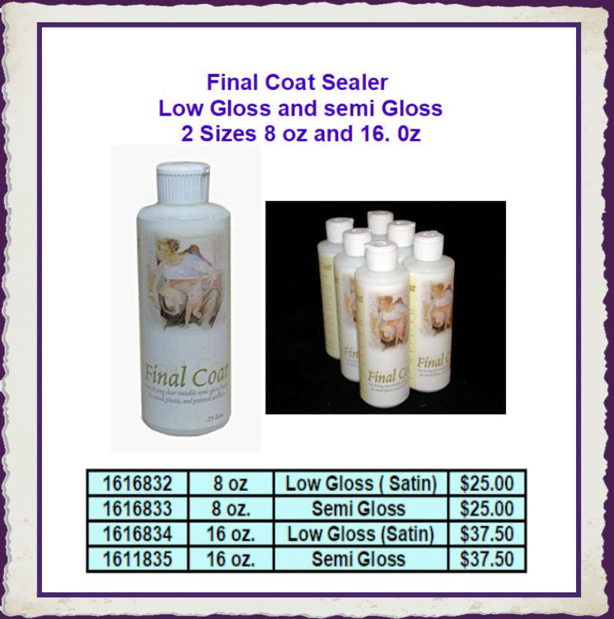 PT - Final Coat Varnish - Satin (Low Gloss) and Gloss (Semi-Gloss) - 2 Sizes  List Price $25.00 and  $37.50