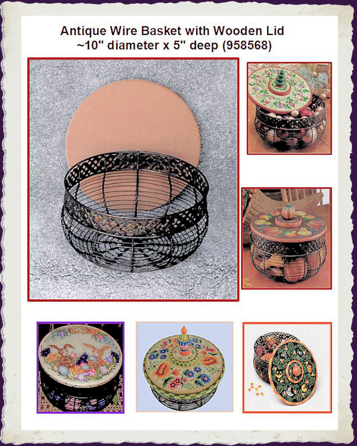 "Basket - Antique Wire Basket with Wooden Lid ~10"" diameter x 5"" deep  (958568)"