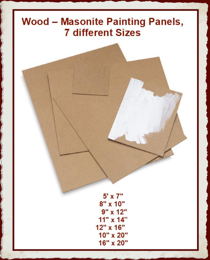 Wood - Painting Panels, Masonite  - 7 different Sizes to Choose From