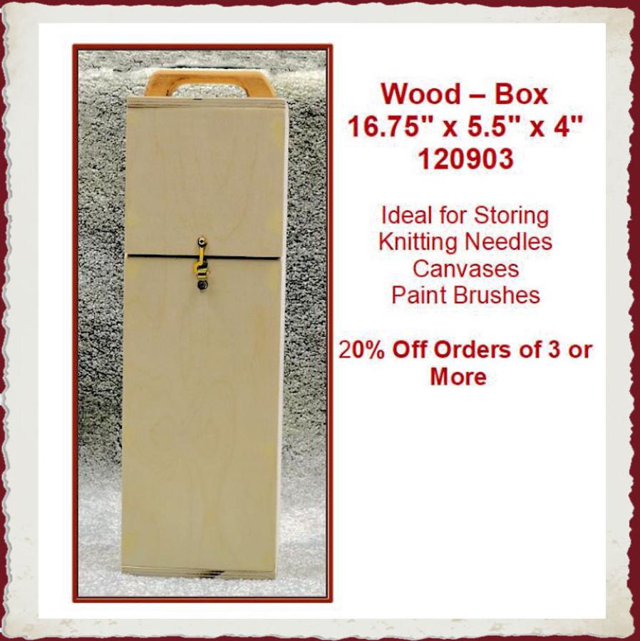 "Wood - Box - Knitting Needles / Canvases /Paint Brushes 16.75""x5.5""x4"" (120903)"
