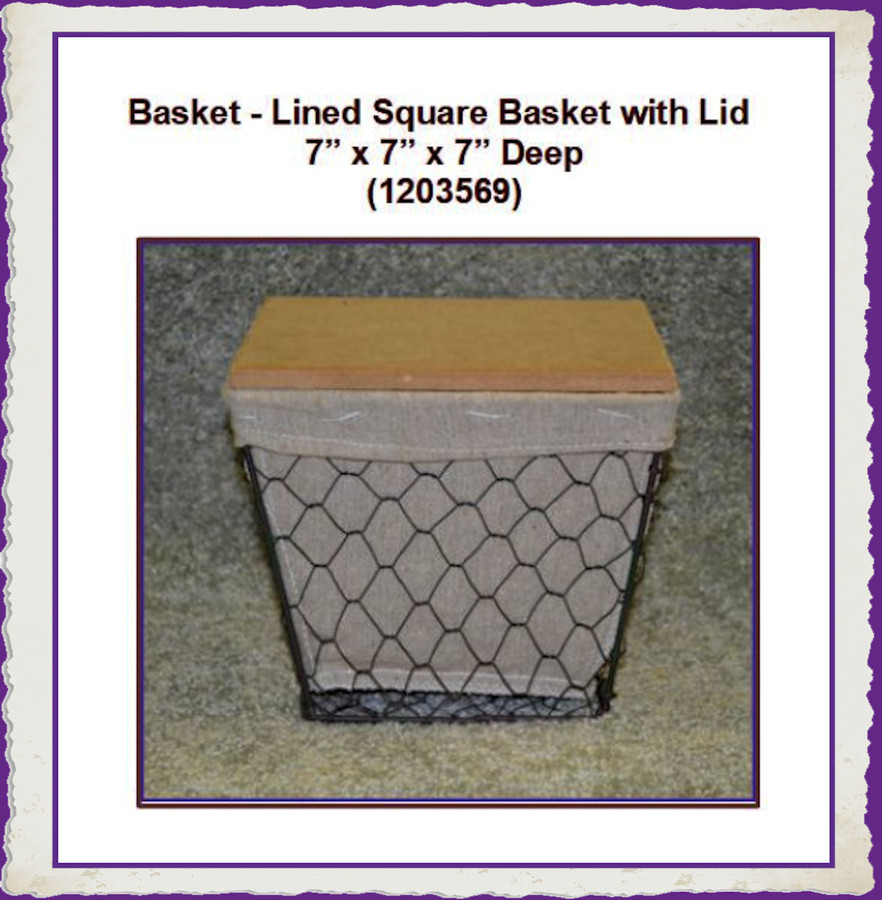 "Basket - Lined Square Basket with Lid 7"" x 7"" x 7"" (1203569)"