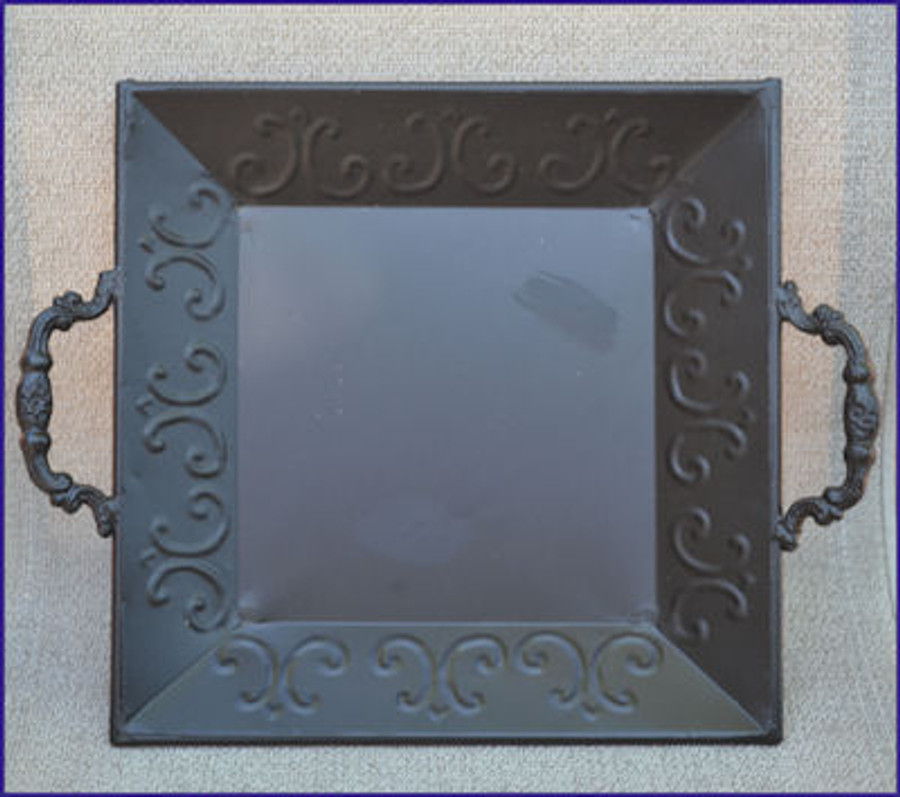 Black Metal Square Tray with Decorative Handles - OUT OF STOCK - ACCEPTING PREORDERS