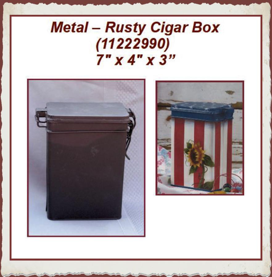 """Metal -Rusty Cigar  Box 7"""" x 4"""" x 3"""" (11222990) List Price $12,00"""