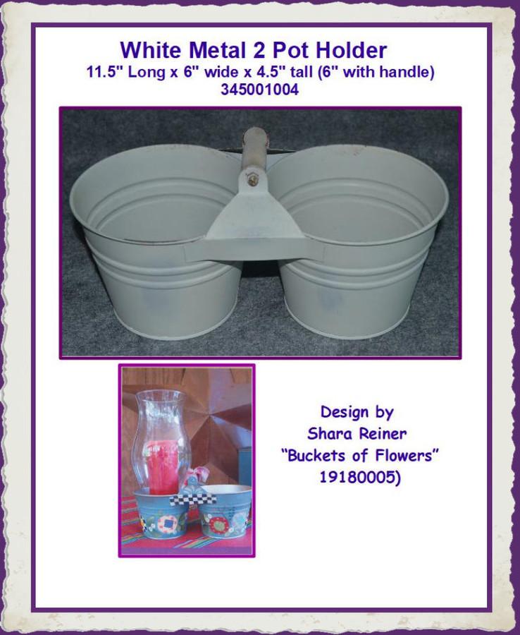 "Metal - White Metal 2 Pot Holder   11.5"" Long x 6"" wide x 4.5"" tall  345001004 (345001004) List Price $12.00"