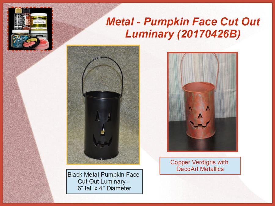 Metal - Pumpkin Face Cut Out Luminary (20170426B)