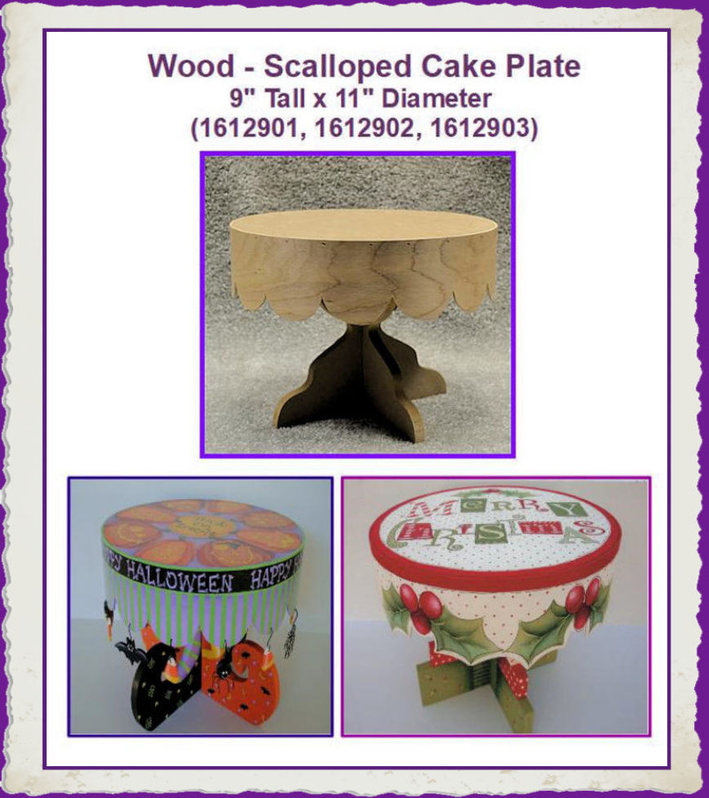 Wood - Scalloped Cake Plates (1612901, 1612902, 1612903) List Price $35.00