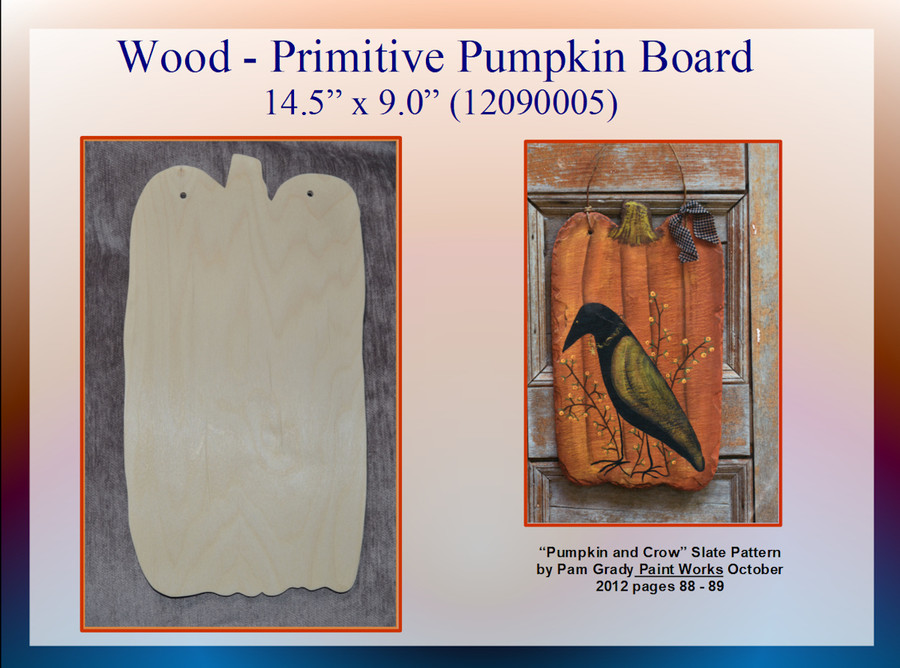 "Wood - Primitive Pumpkin Board 14.5"" x 9"" (12090005)"