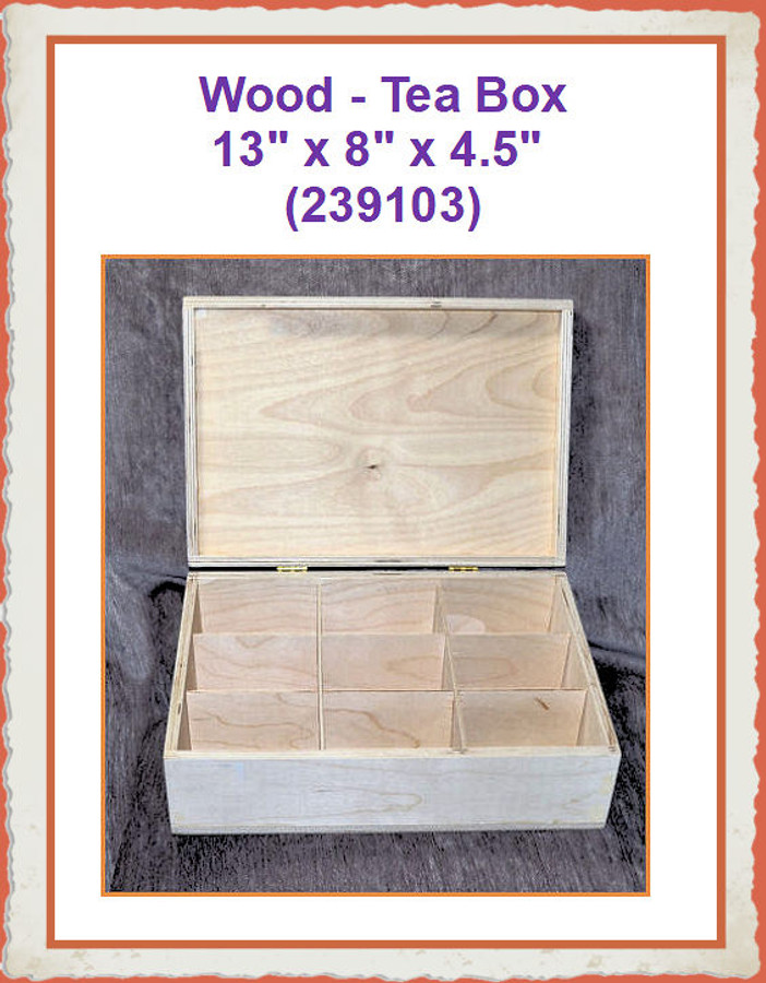 "Wood - Box, Tea 13"" x 8"" x 4.5"" (239103) List Price $25.00"