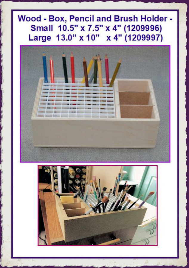 Wood - Box, Pencil and Brush Holder - 2 Sizes (1209996 and 1209997)