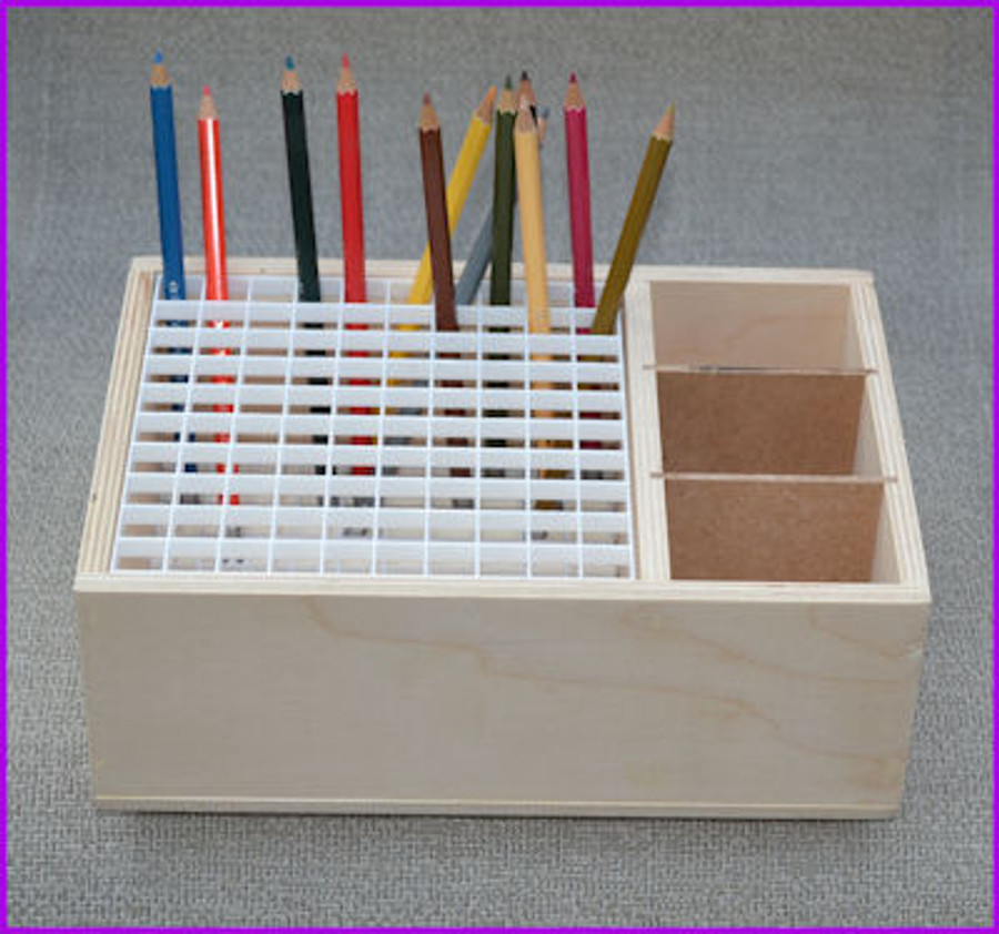 Wood Pencil and Brush Box Holder - 2 Different Sizes