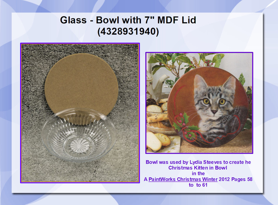 "Glass - Bowl with 7"" MDF Lid (4328931940) List Price $10.00"