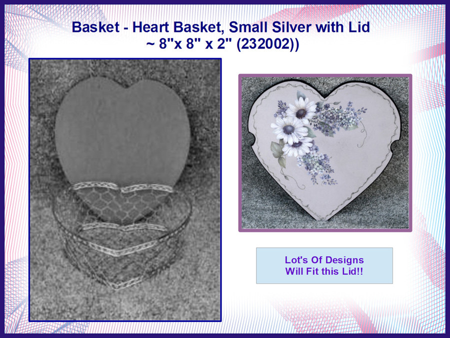 """Basket - Heart Basket, Small Silver with Lid ~ 8""""x 8"""" x 2"""" (232002) OUT OF STOCK"""