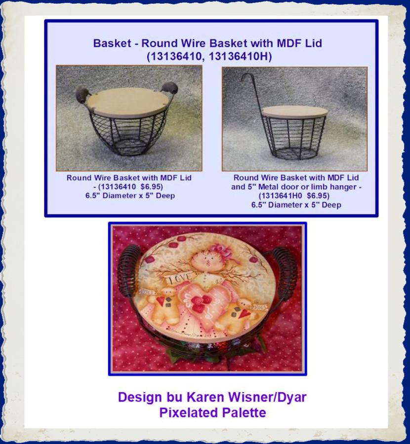 """Basket - Round Wire Basket with 6.5"""" MDF Lid (13136410, 13136410H) List Price $11.00"""