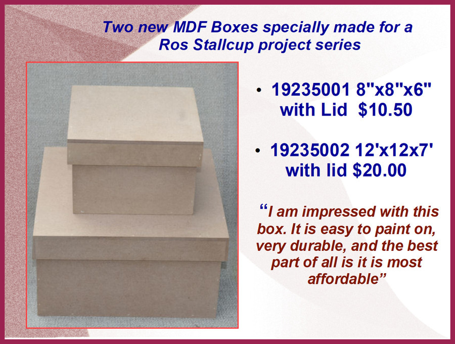 Wood - MDF Boxes with Lids (19235001, 19235002) List Price $12.00, $22.00)