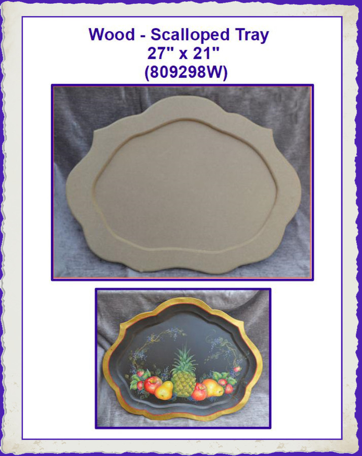 "Wood - Scalloped Tray 27"" x 21"" (809298W) List Price $42.50"