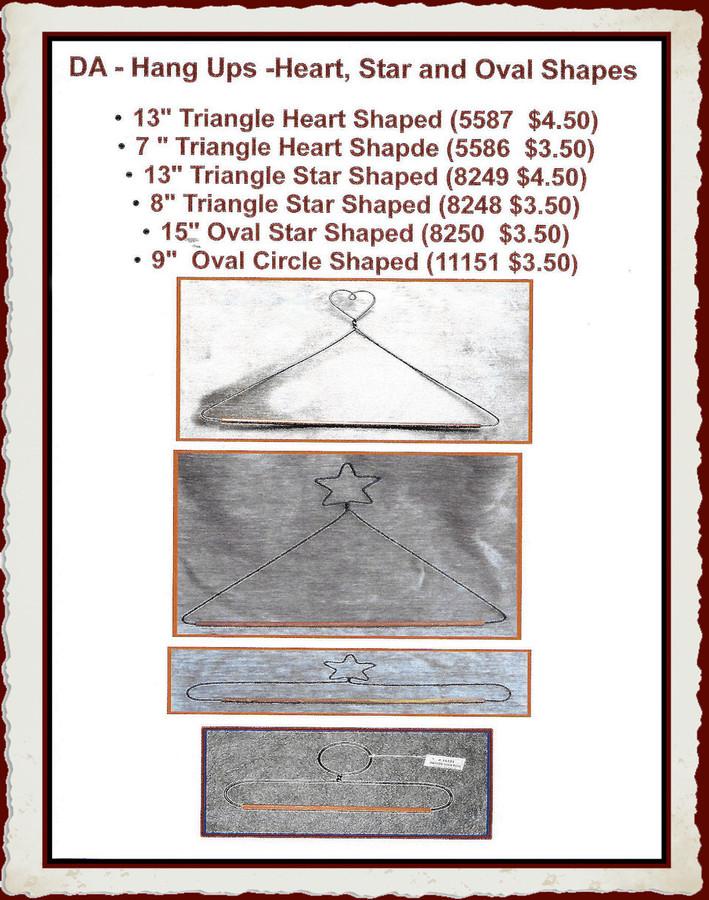DA - Hang Ups -Heart Shape and Star Shape (5586, 5587, 8249, 8248,  8250, 8251W, 11151)