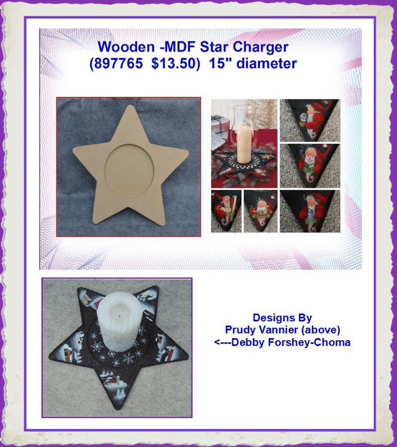 "Wood -  Star Charger, MDF 16"" Diameter  6.5"" Oval Center (897765) List Price $16.00"