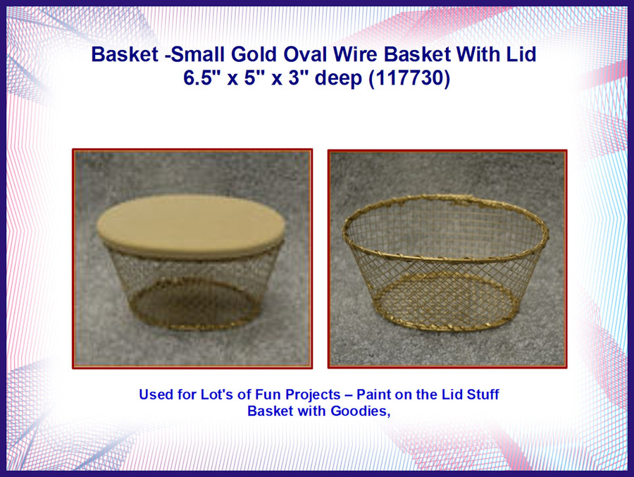 """Basket -Small Gold Oval Wire Basket With Lid 6.5"""" x 5"""" x 3"""" deep (117730)"""