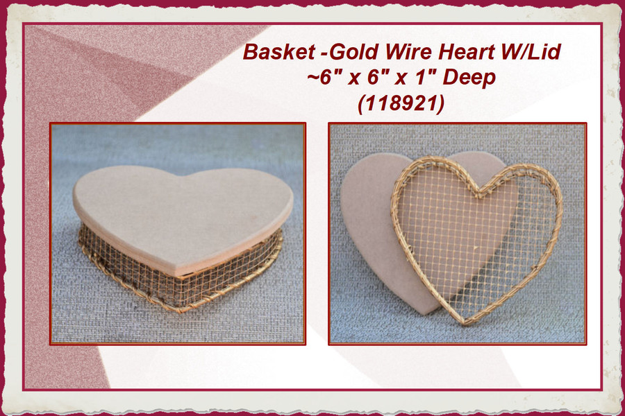 "Basket - Gold Wire Heart W/Lid ~6"" x 6"" x 1"" Deep (118921) List Price $9.00"