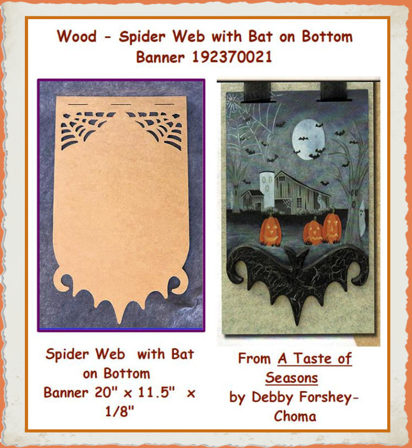 Wood - Spider Web  with Bat on Bottom Banner (192370021) List Price $14.00