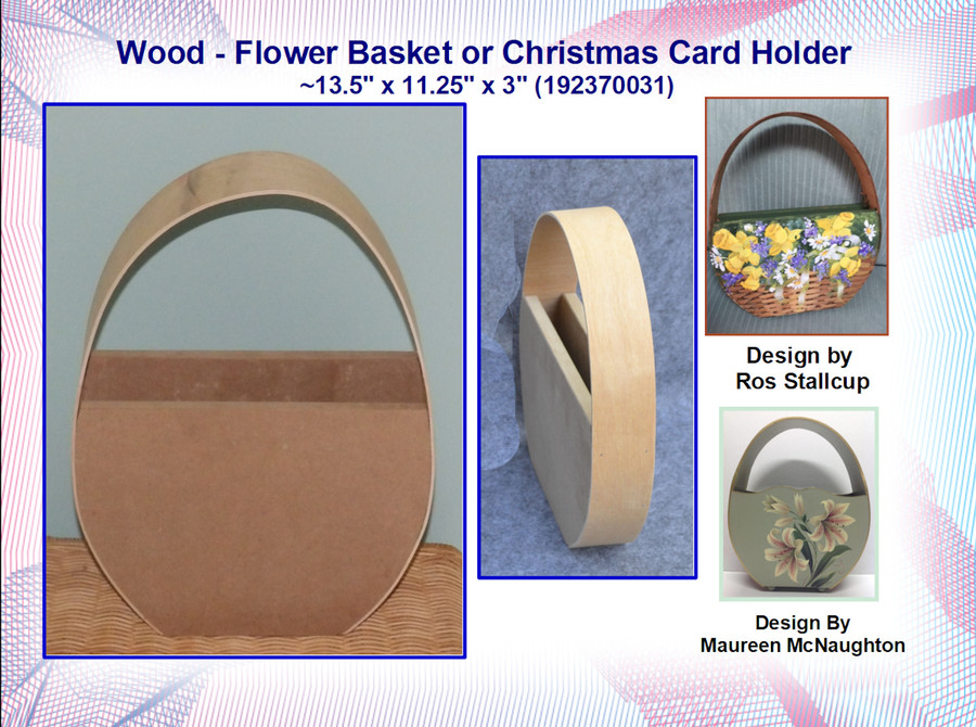 "Wood - Flower Basket or Christmas Card Holder ~13.5"" x 11.25"" x 3"" (192370031)List Price $21.50"