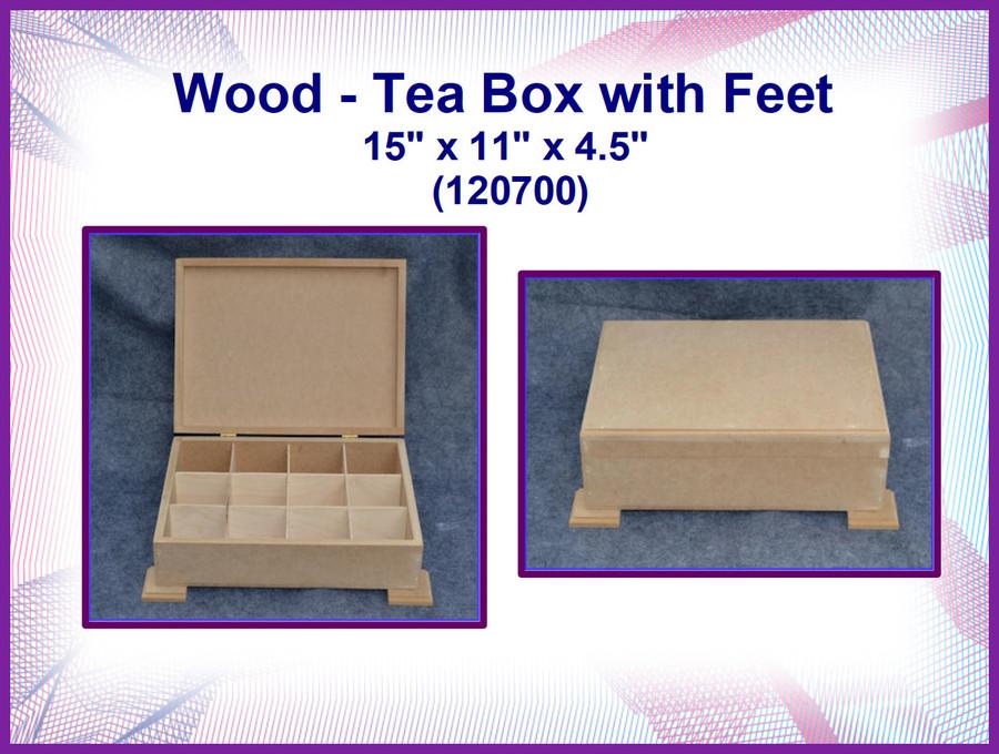 "Wood - MDF Tea Box with Feet 15"" x 11"" x 4.5""  (120700) List Price $35.00"