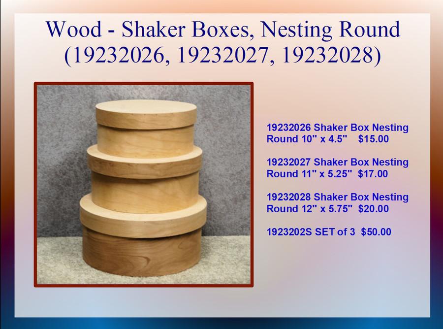 Wood - Shaker Boxes, Nesting Round (19232026, 19232027, 19232028)