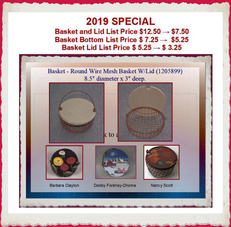"""Basket - Round Wire Mesh Basket W/Lid 8.5"""" Lid (1205899) List Price $12.50"""