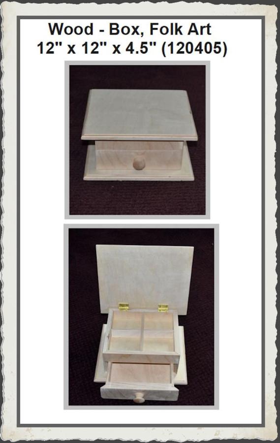 """Wood - Box, Folk Art 12"""" x 12"""" x 4.5"""" (120405) List Price $37.00"""