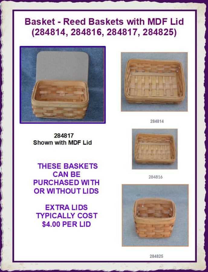 Basket - Reed Baskets with MDF Lid (284814, 284816, 284817, 284825)