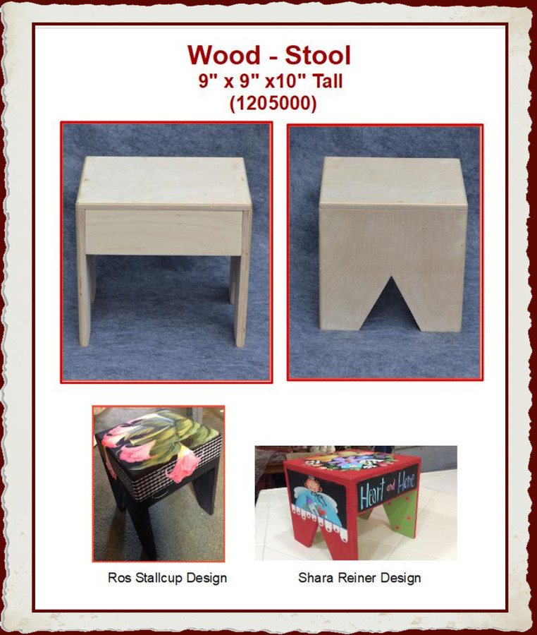 "Wood - Stool  9"" x 9"" x 10"" Tall  (1205000) List Price $20.00"