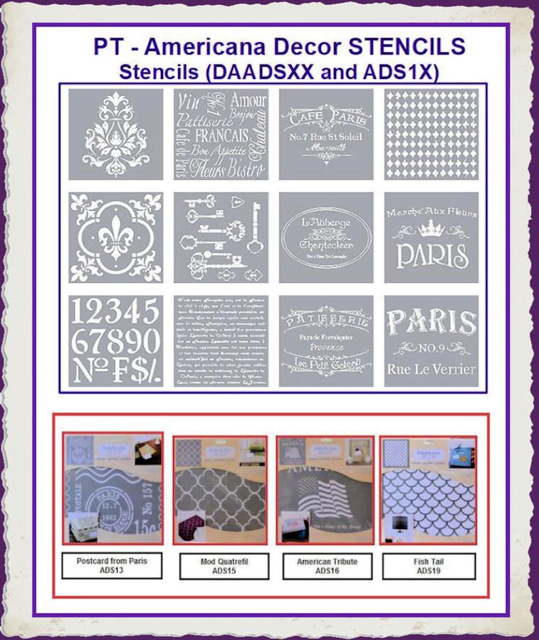 PT - Americana Decor Stencils (DAADSXX, ADS1x)