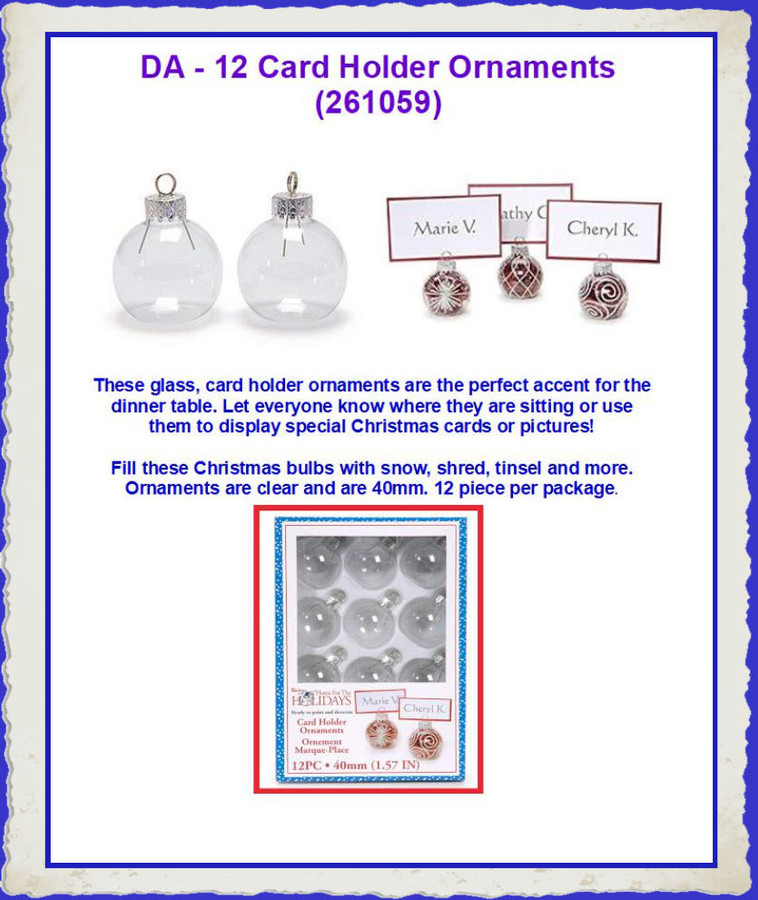 DA - 12 Place Card Holder Ornaments (261059) List Price $4.00