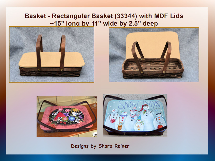 "Basket - Rectangular   Basket  with MDF Lids  15"" x 11"" x 2.5""(34974 new  number 33344) List Price 18.00"