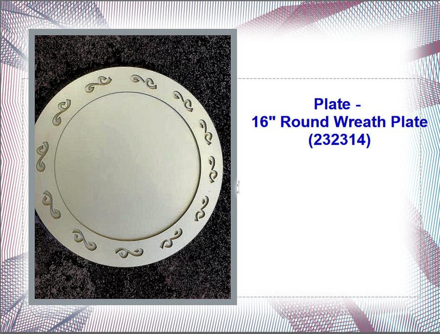 "Plate - 16"" Round  Metal Wreath Plate (232314) List Price $14.50"