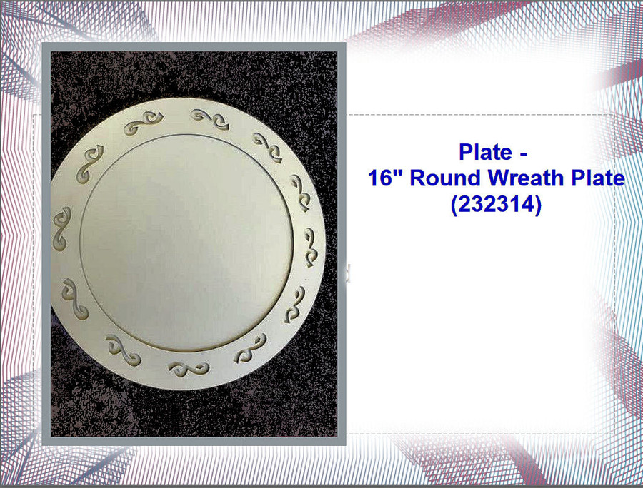 "Plate - 16"" Round  Metal Wreath Plate (232314) List Price $14.50"