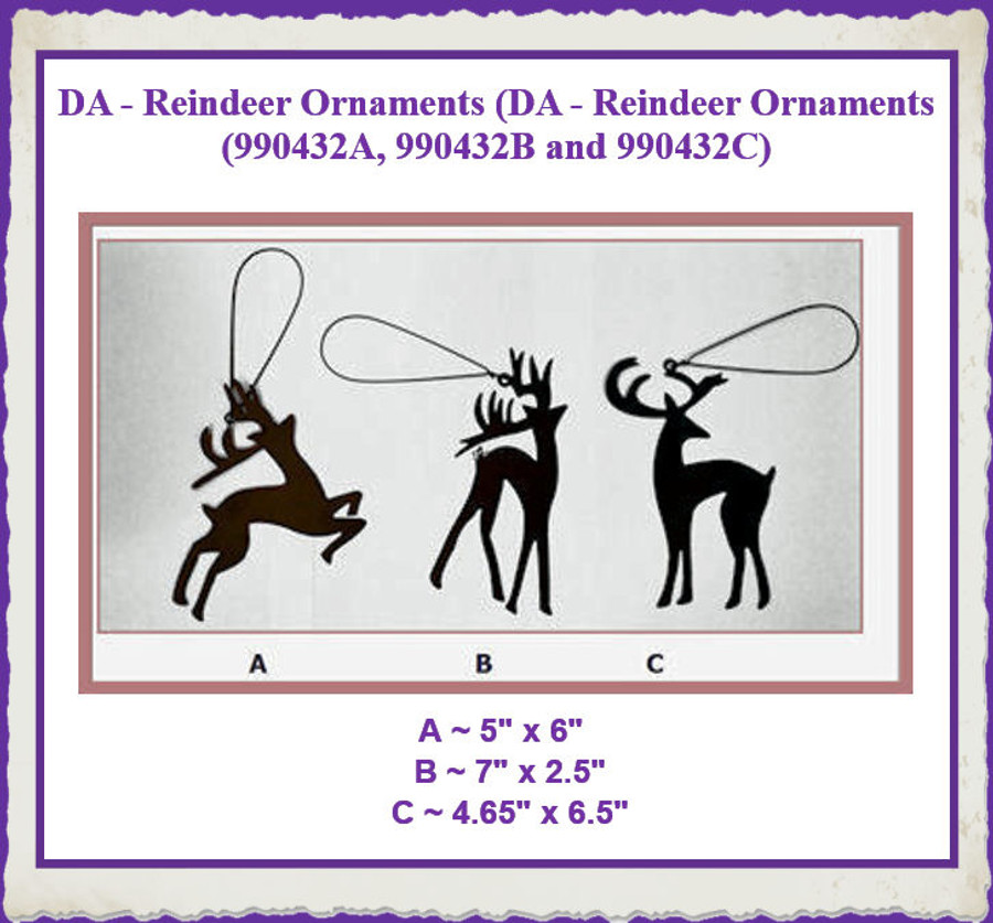 DA - Reindeer Ornaments (990432A, B and C) List Price $4.25
