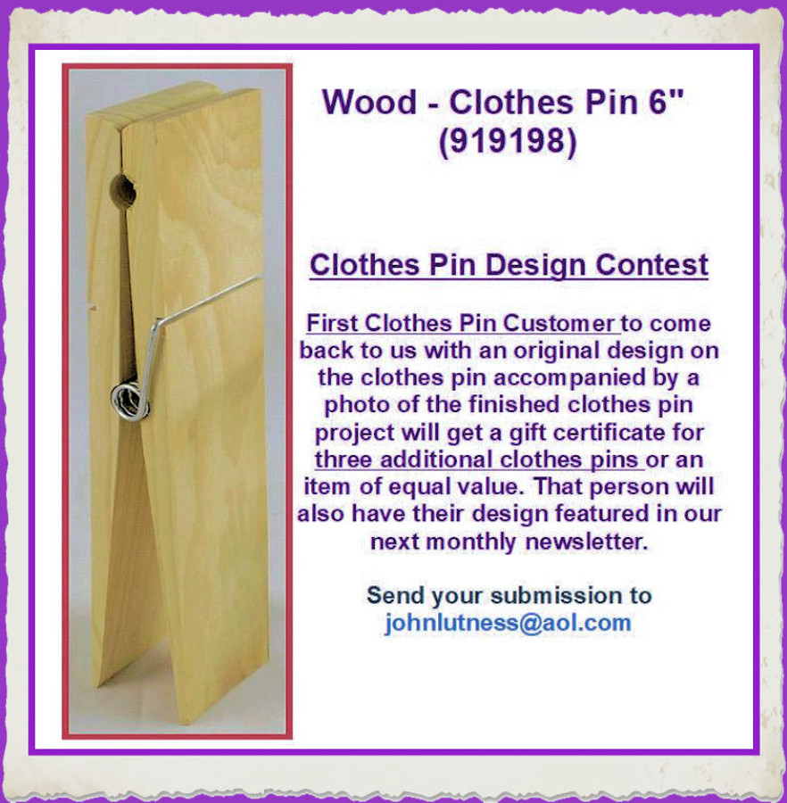 "Wood - Clothes Pin 6"" (919198) List Price $3.75"