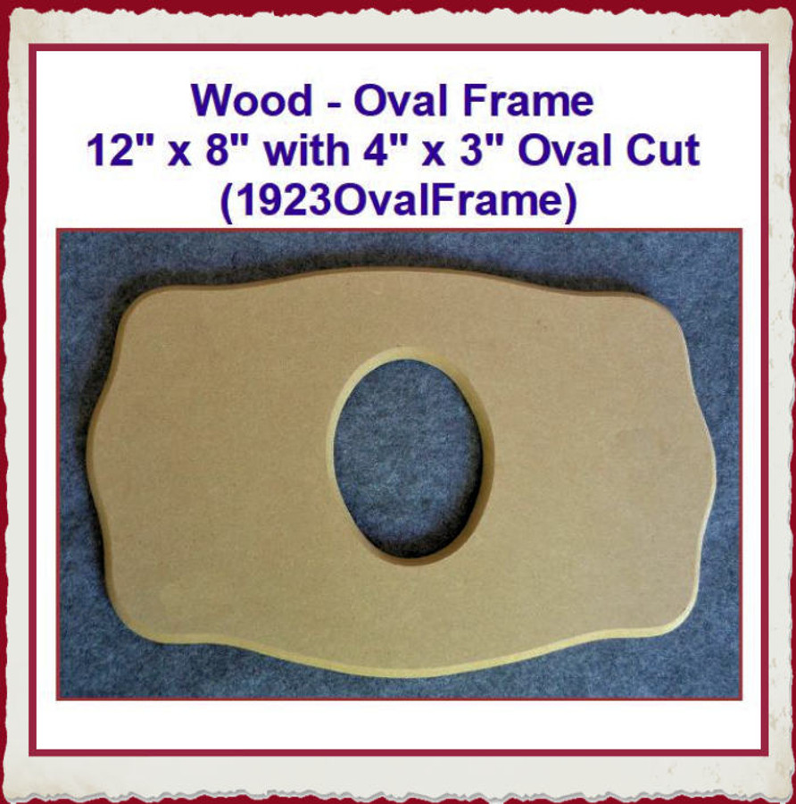 "Wood - Oval Frame 12"" x 8"" with 4"" x 3"" Oval Cut (1923OvalFrame) List Price $12.00"