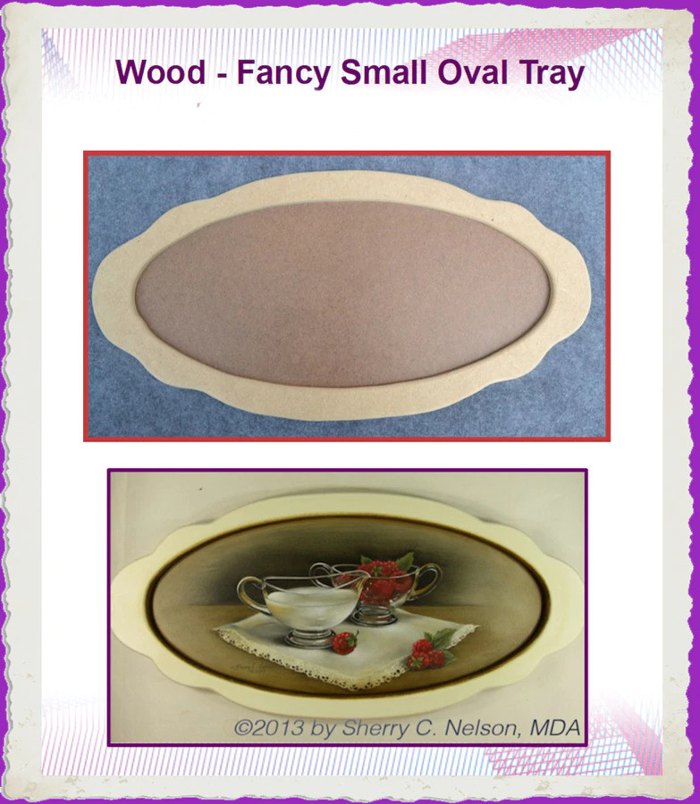"Wood -  Fancy Small Oval Tray 19"" x 9"" (19231814) List Price $16.50"