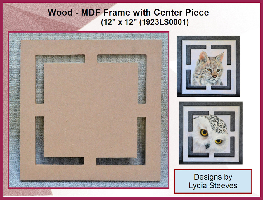 "Wood - MDF Frame with Center Piece 12"" x 12"" (1923LS0001) List Price $15.00"