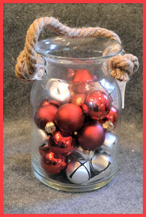 "Glass - ""Baubles and Bells"" Glass Jar  8"" Tall x  5"" Diameter (TGX69738)  List Price $10.50"