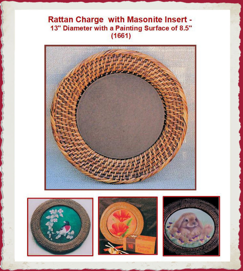 "Plate - Round  Rattan  13"" Charger with Masonite Insert (1661) List Price $17.50"