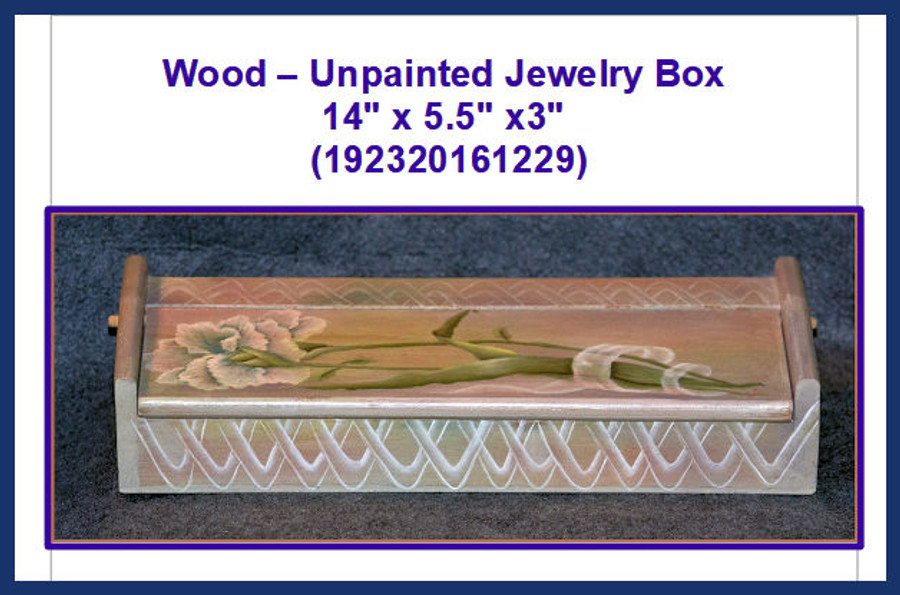"Wood - Jewelry Box 14"" x 5.5"" x3"" (192320161229) List Price 17.00"
