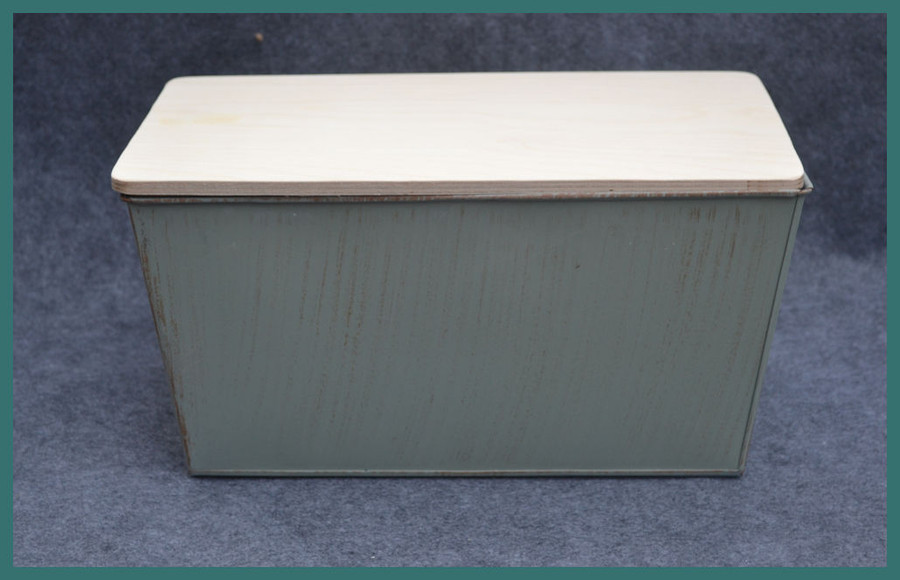 "Metal - Rectangular  Garden Bucket with Wood Lid 13"" x 8"" x 6"" (TMA74391)"